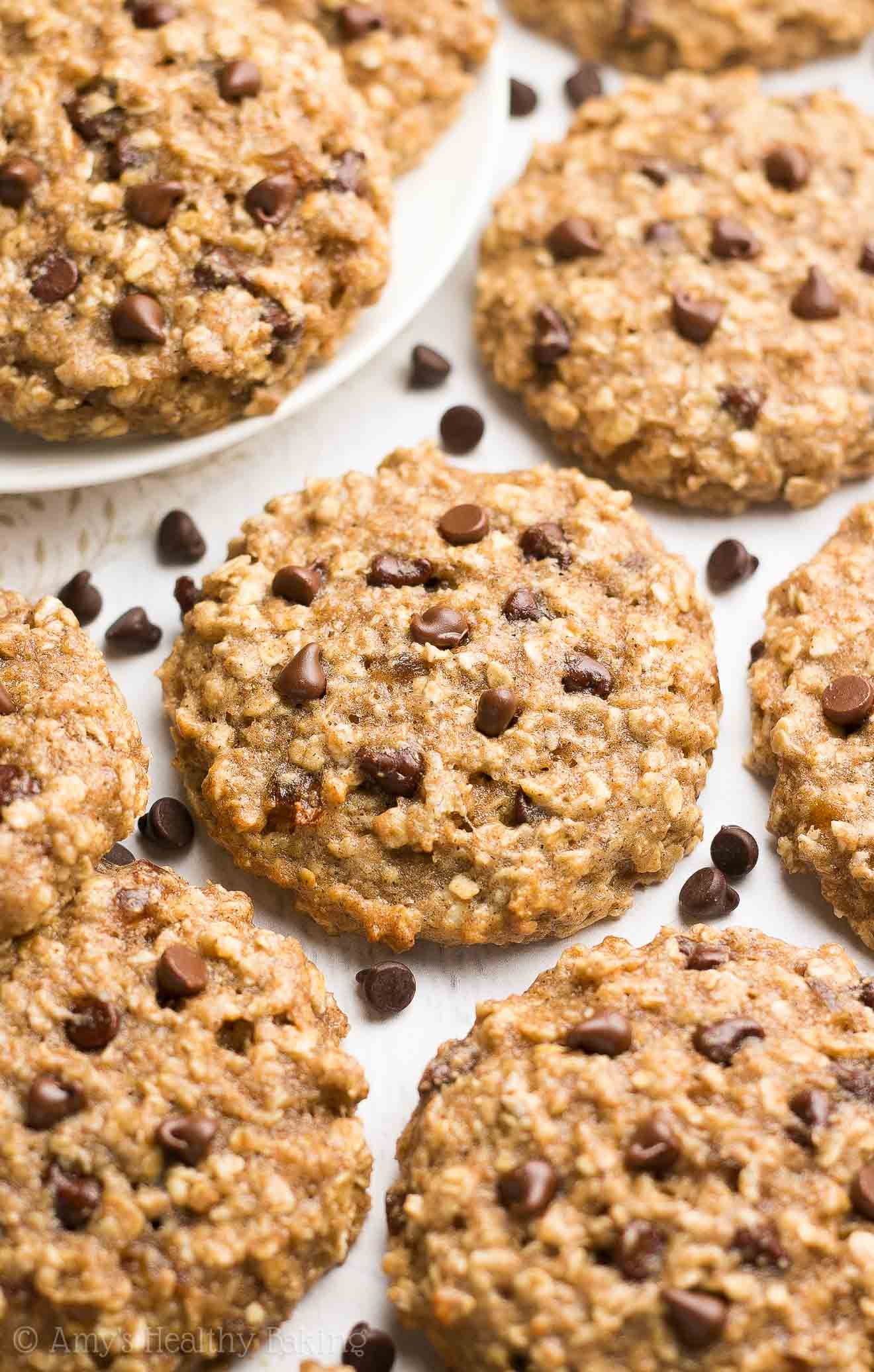 Healthy Caramel Chocolate Chip Oatmeal Cookies | Amy's Healthy Baking