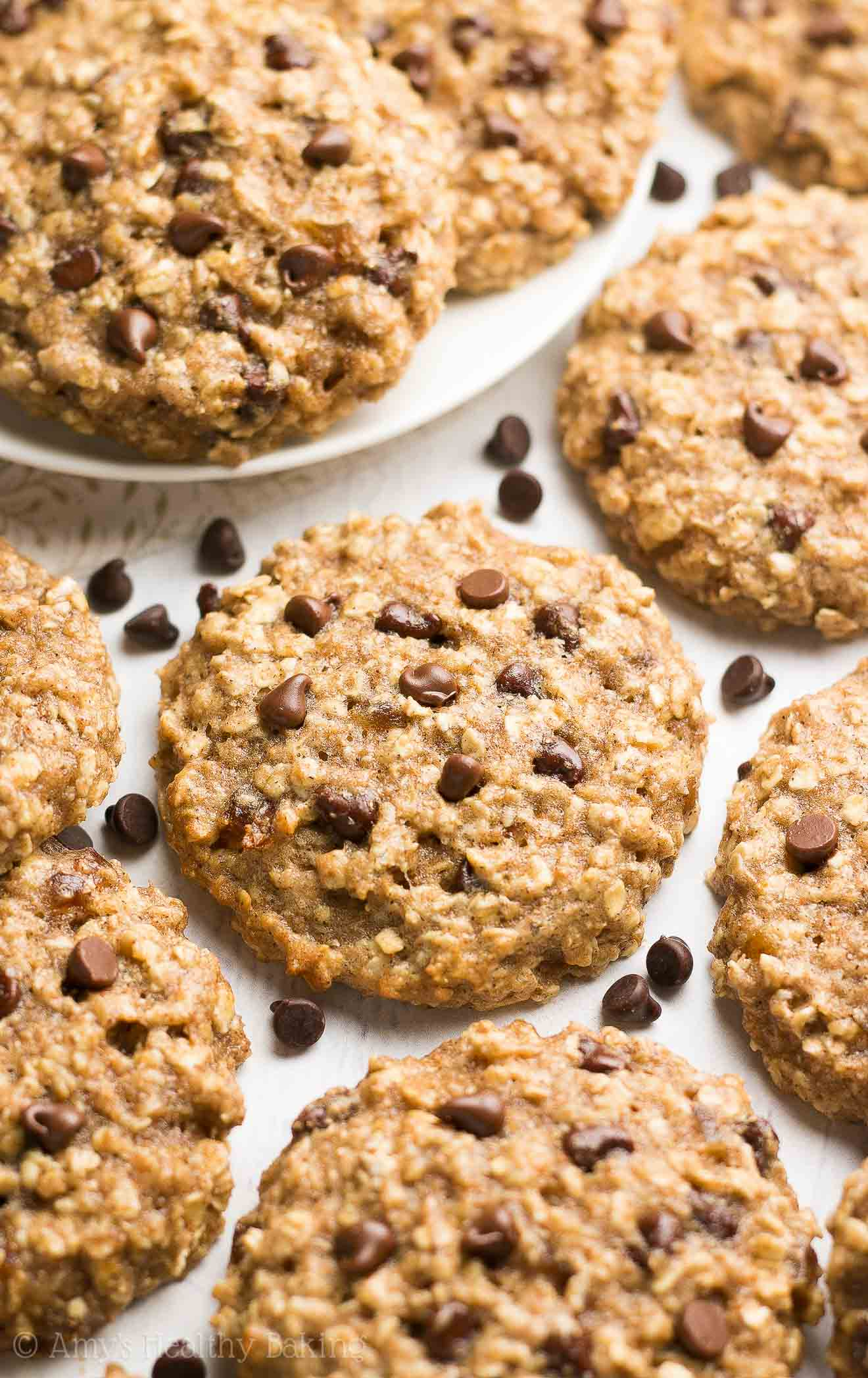 {HEALTHY} Caramel Chocolate Chip Oatmeal Cookies -- supremely chewy & only 99 calories! They taste INCREDIBLE, just like indulgent recipes! I've already memorized the recipe because I make them so often!