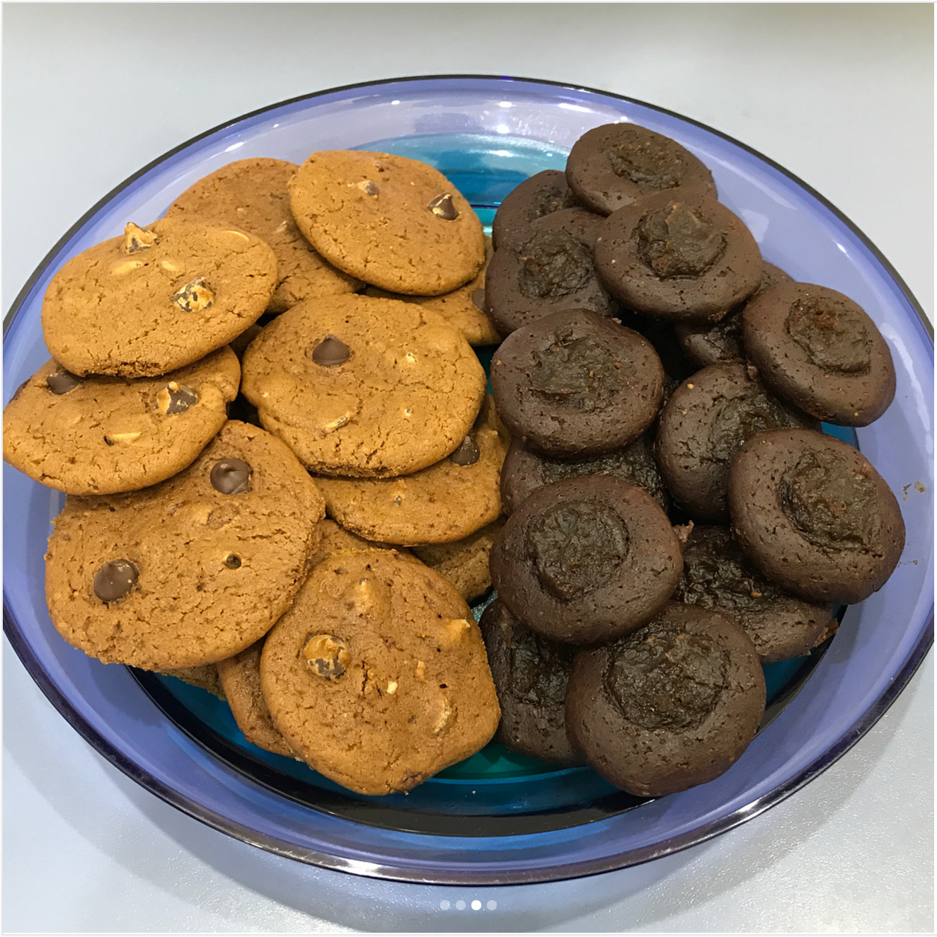 coffee chocolate chip cookies & dark chocolate salted caramel thumbprint cookies by @strongeratforty