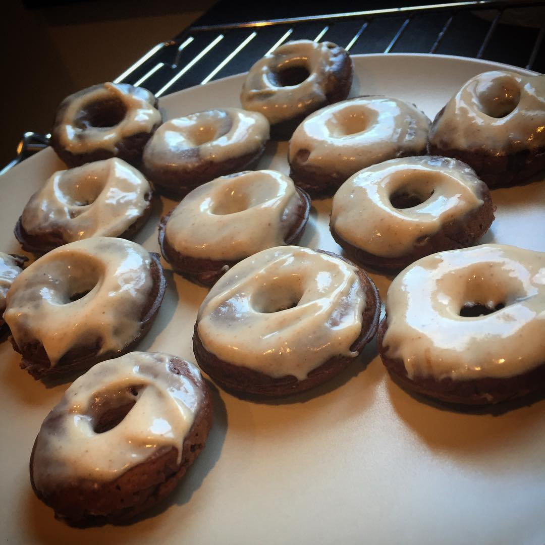 baked dark chocolate peanut butter donuts by @h_haycock