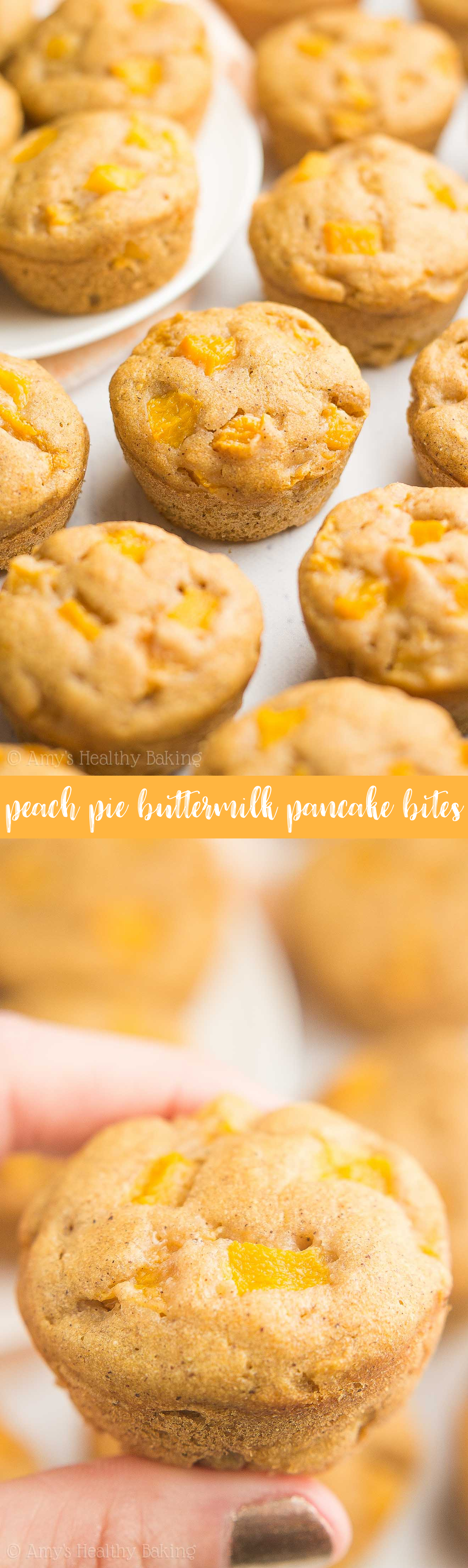 Healthy Peach Pie Buttermilk Pancake Bites -- only 29 calories! No standing over the stove... You BAKE this pancake batter instead! This kid-friendly recipe is perfect for quick, easy breakfasts & meal prepping!