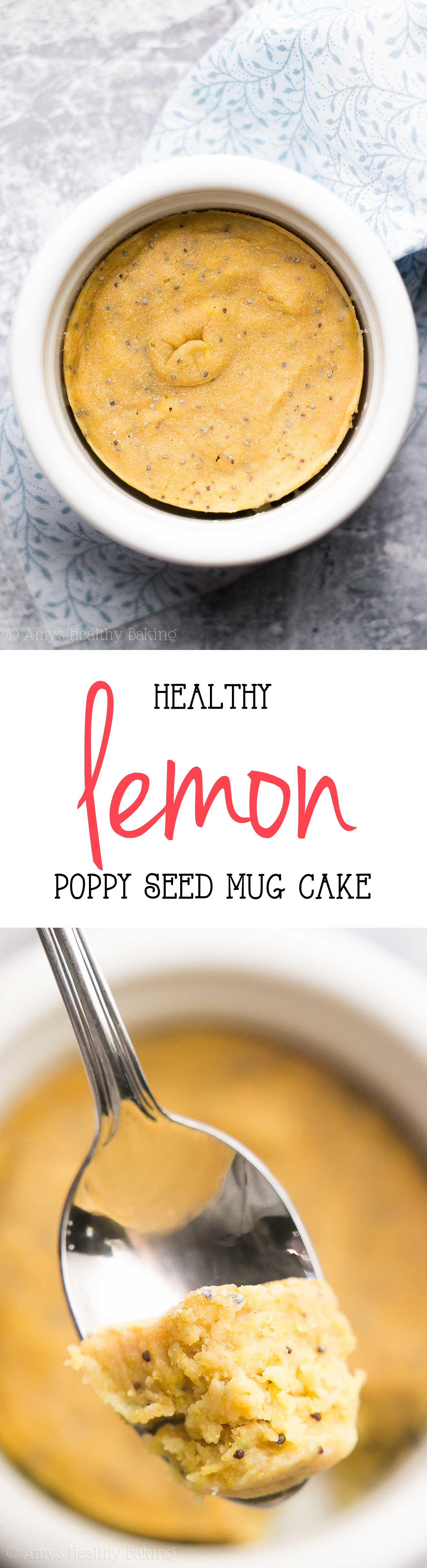 This {HEALTHY!} Lemon Poppy Seed Mug Cake recipe is amazing! Only 101 calories & ready in 10 minutes! Sweet, tender & perfect for any sweet tooth cravings!