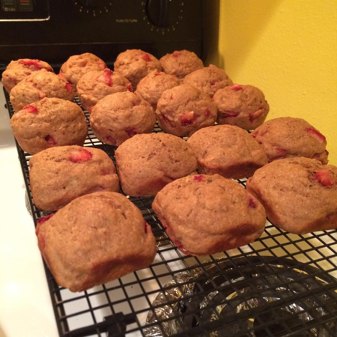 whole wheat strawberry banana muffins by @jlorth4