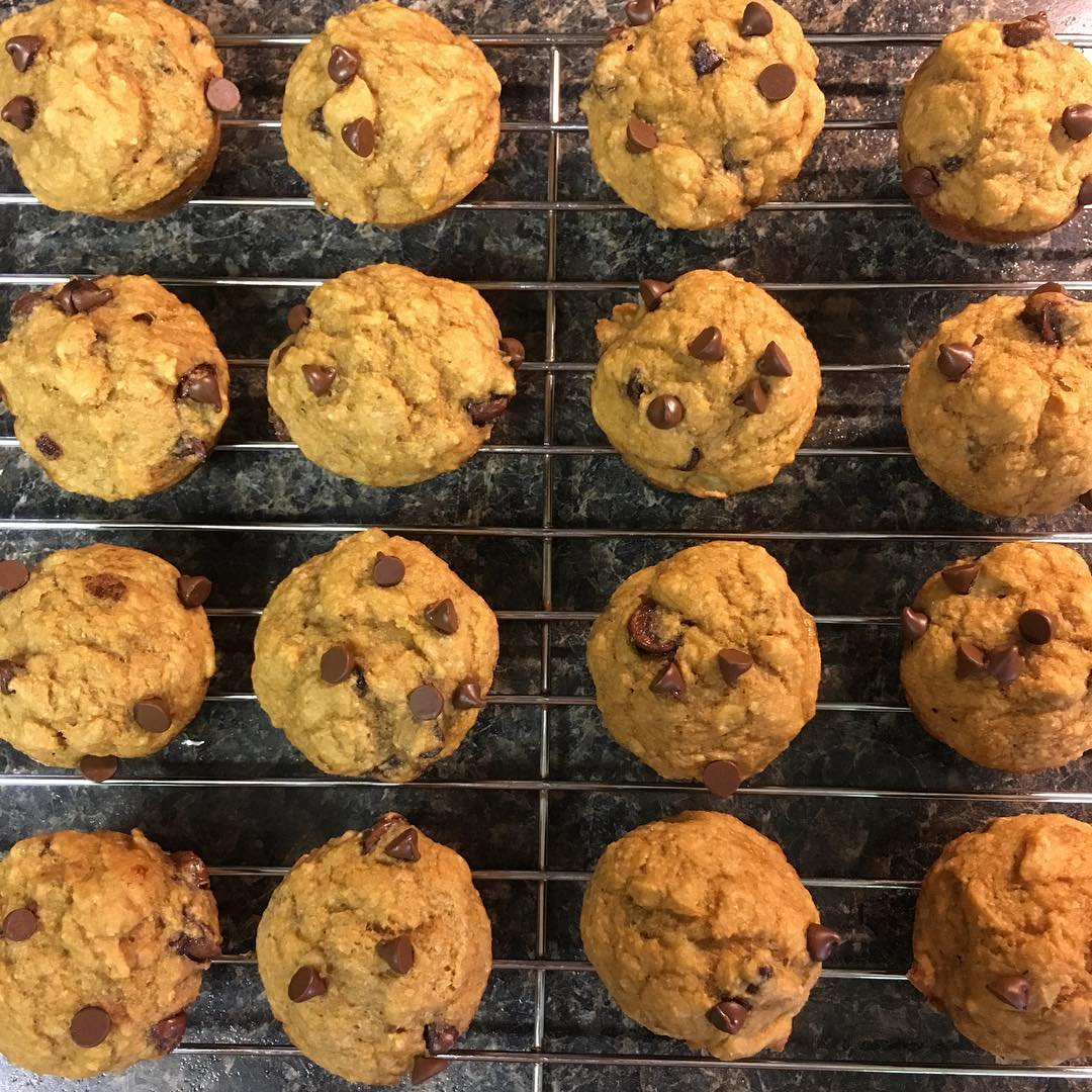 chocolate chip banana mini muffins by @lovecamping