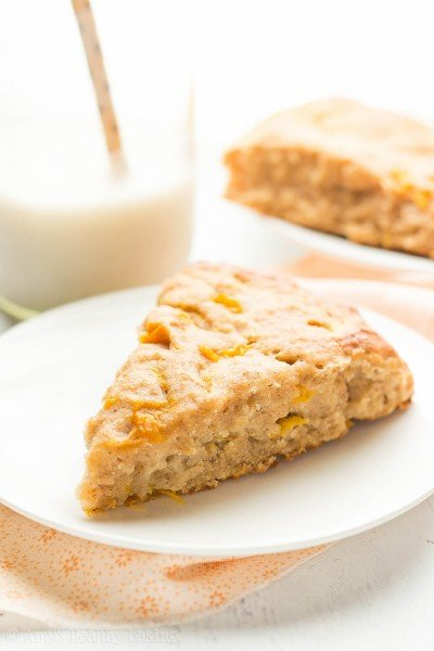 Healthy Honey Peach Scones {Recipe Video!}