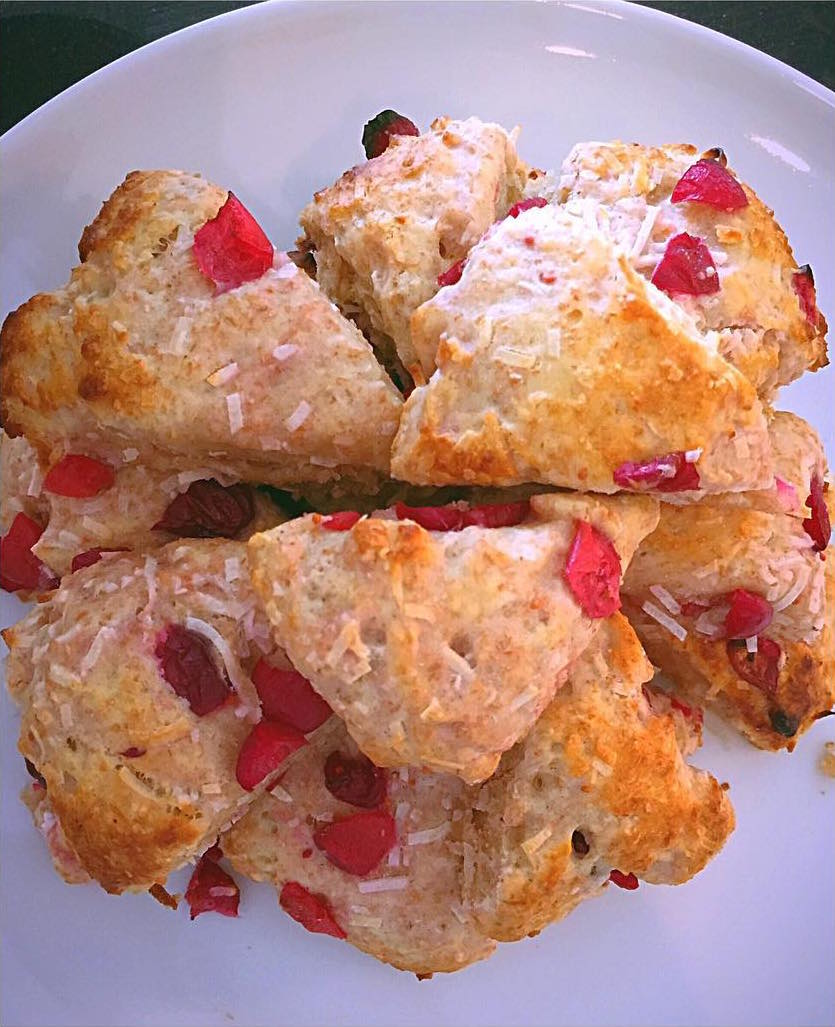 healthy pineapple coconut scones {with cranberries instead!} by @absent_without_gauze