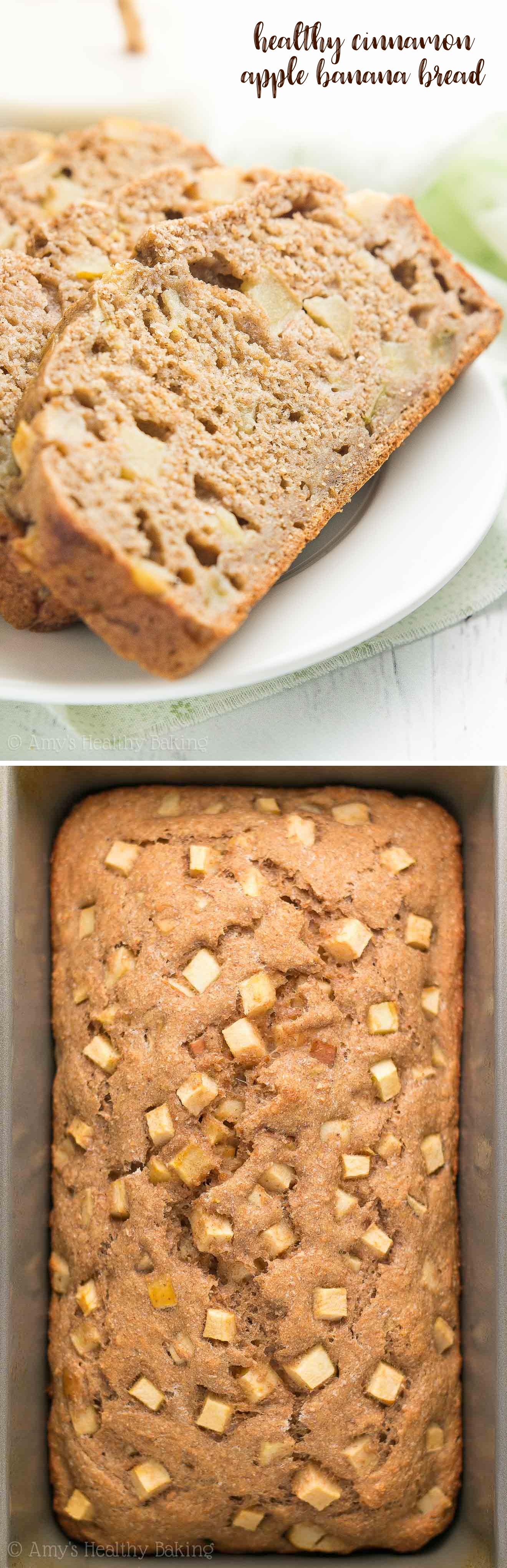 Healthy Cinnamon Apple Banana Bread -- only 108 calories & tastes AMAZING! Plus it's kid-approved & such an easy recipe!