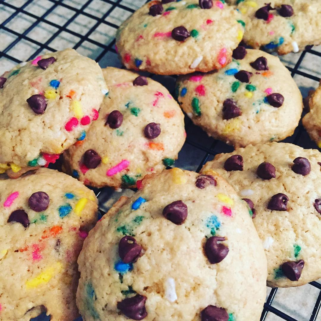 double chocolate funfetti cookies by @madxhatter42