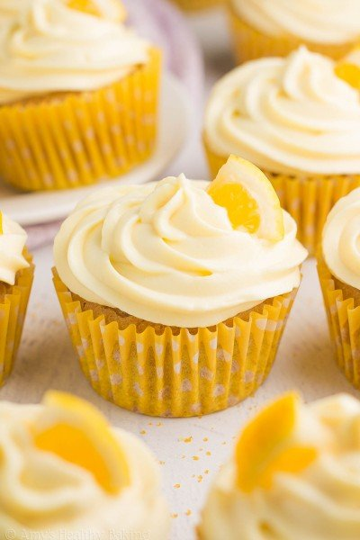 Healthy Lemon Cupcakes with Lemon Frosting