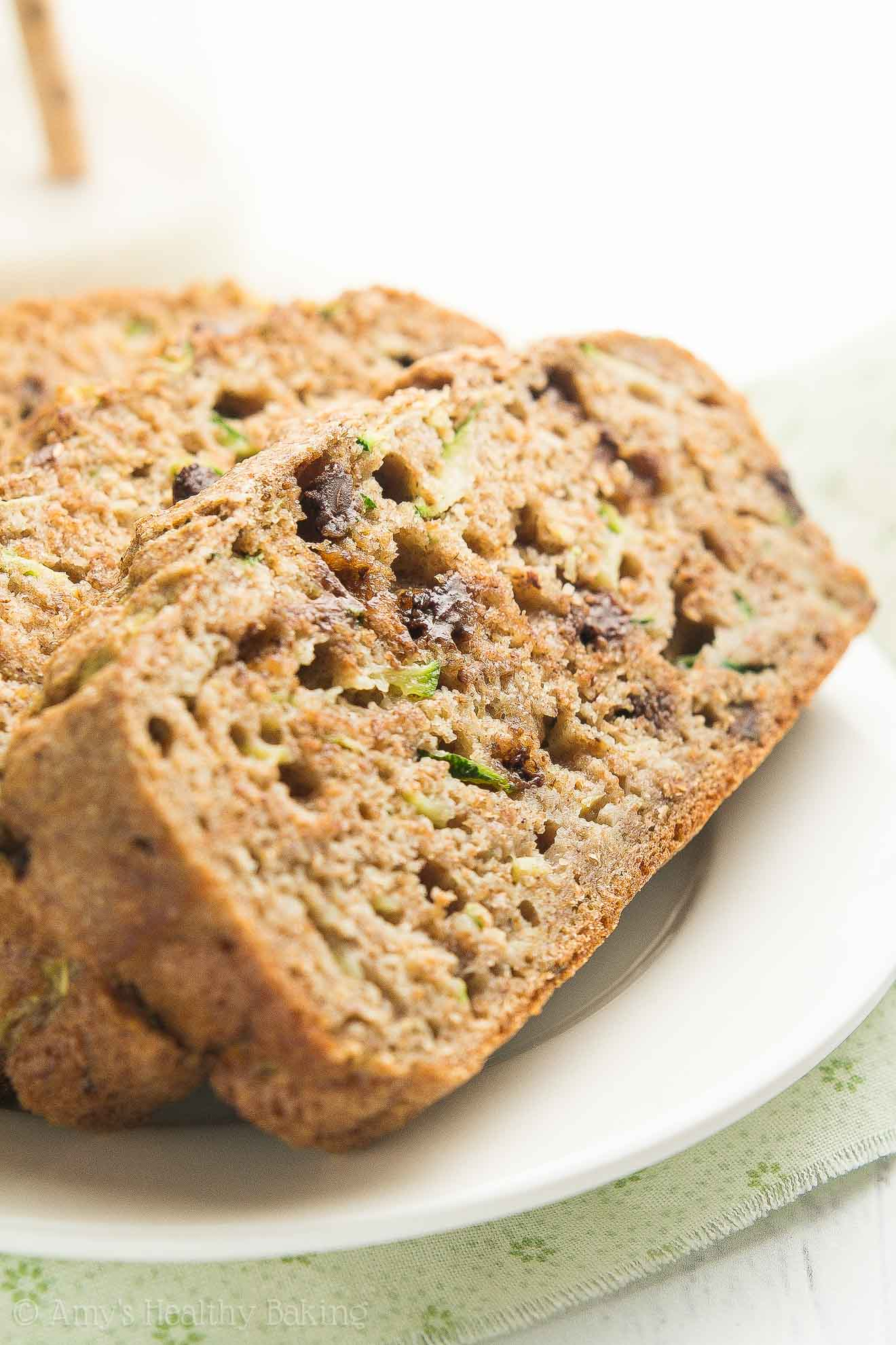 Healthy Chai Spice Chocolate Chip Zucchini Bread -- the BEST recipe I've EVER had! So easy to make (no mixer required!) & as tender as cake! I always get a million compliments on this zucchini bread! OBSESSED!!