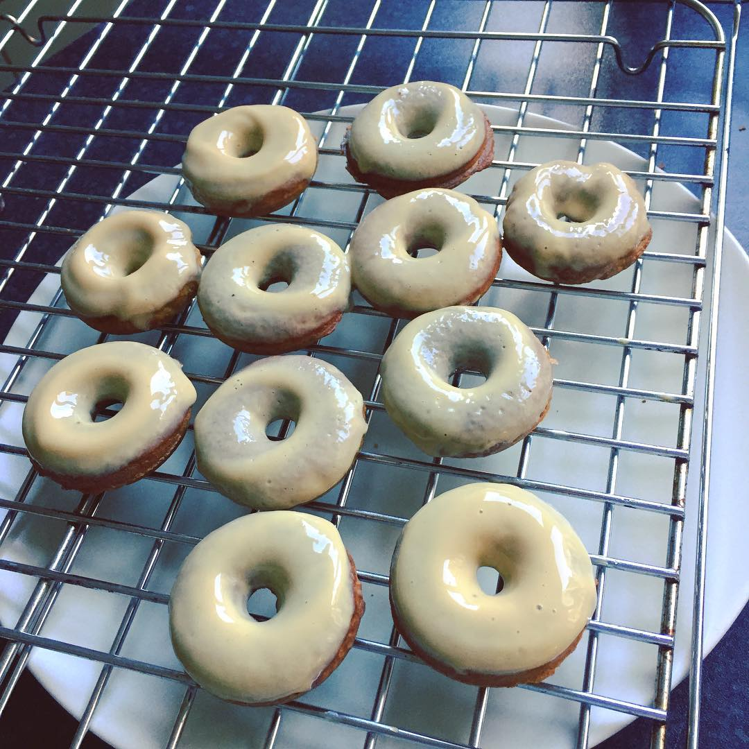 baked gingerbread donuts + maple glaze by @h_haycock