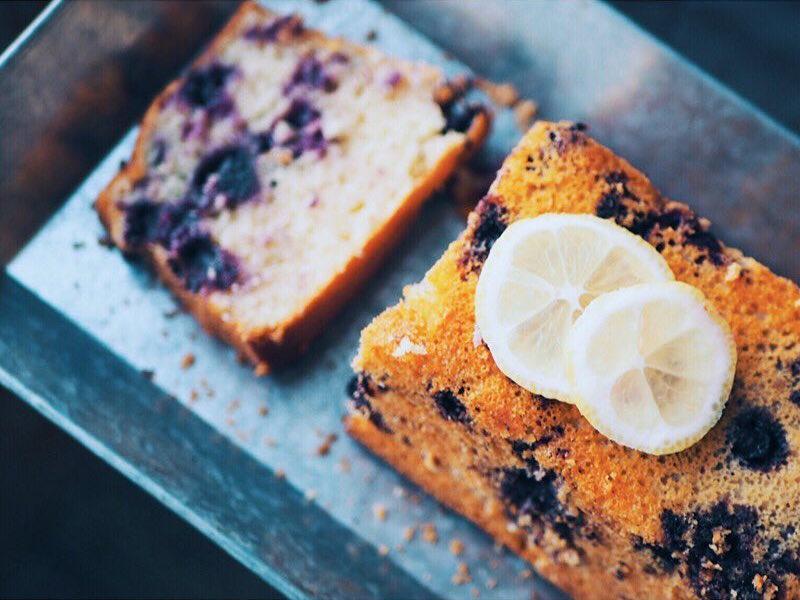 greek yogurt blueberry lemon pound cake by @tofitandbeyond