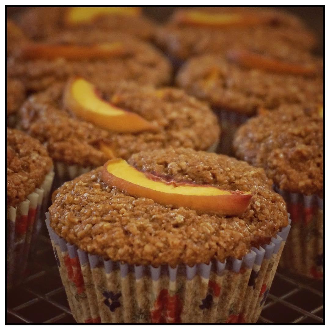 peach pie bran muffins by @adrienneraniszewski