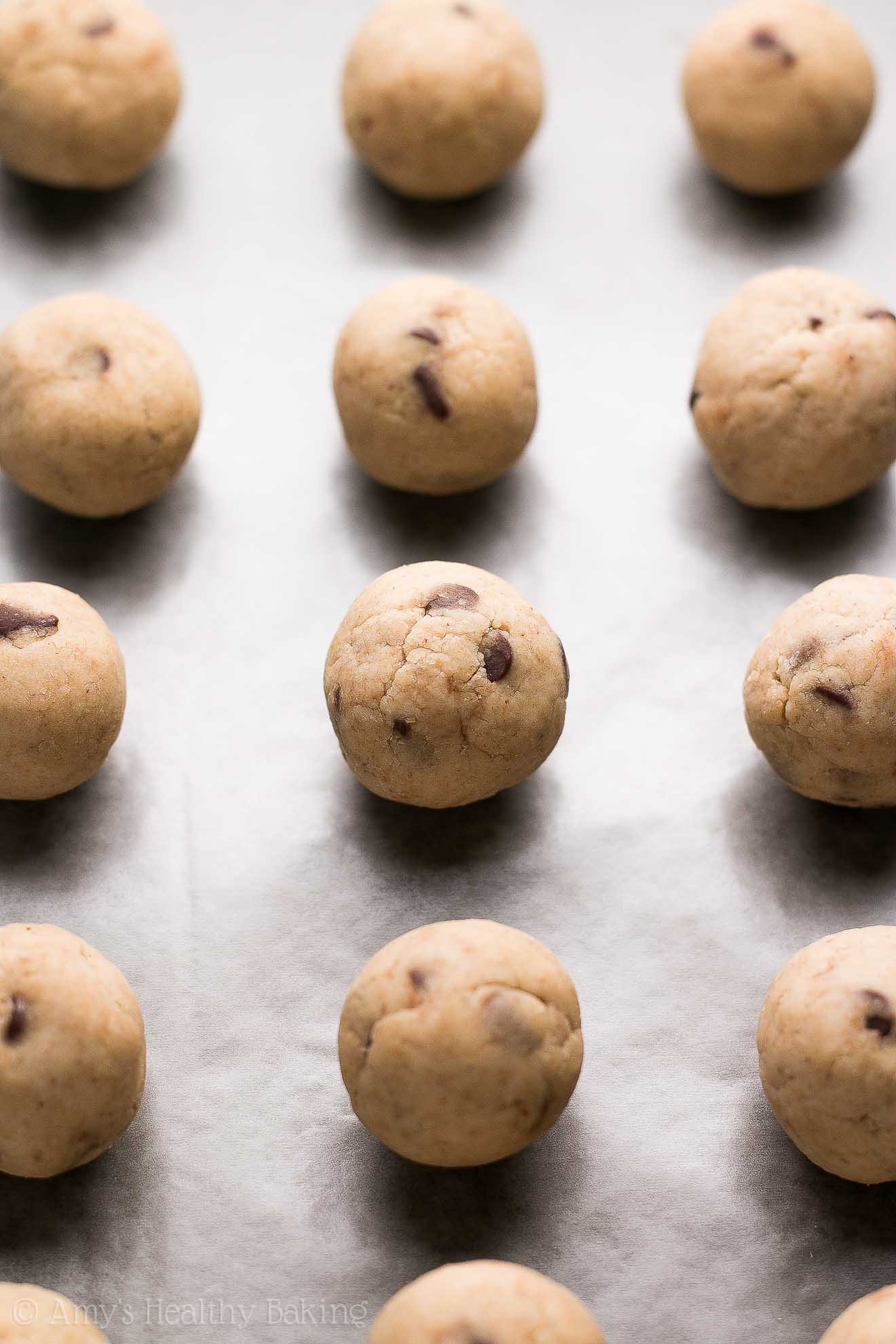 {HEALTHY!} Practically Flourless Chocolate Chip Cookie Dough Bites -- just 30 calories! Sweet, buttery & totally safe to eat raw! I make these ALL the time! They're AMAZING! #recipe