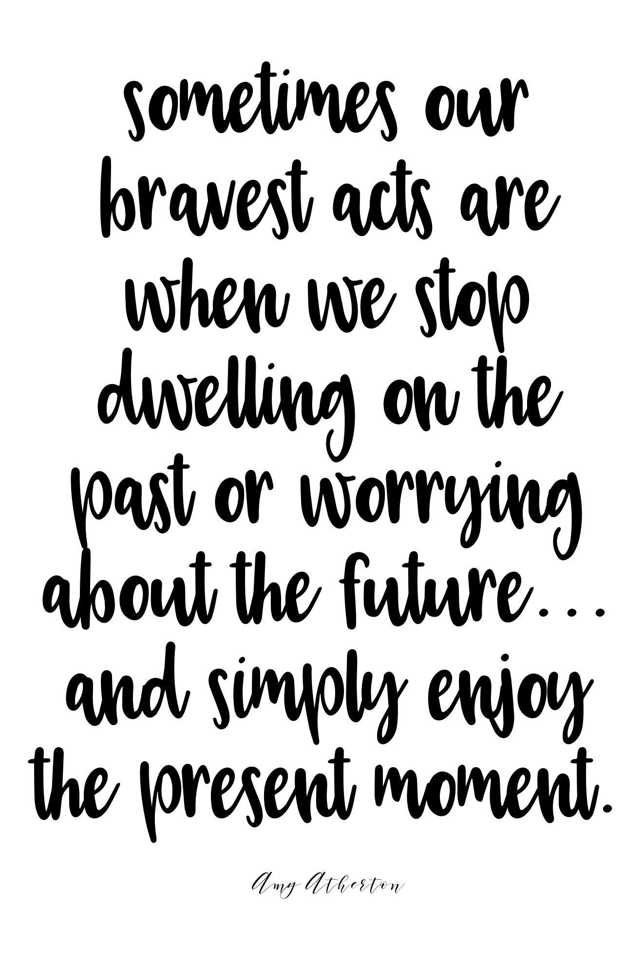 Sometimes our braves acts are when we stop dwelling on the past or worrying about the future... And simply enjoy the present moment. @amybakeshealthy