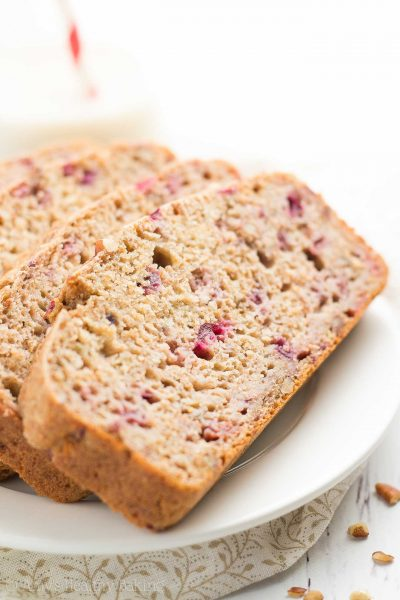 Healthy Cranberry Pecan Banana Bread