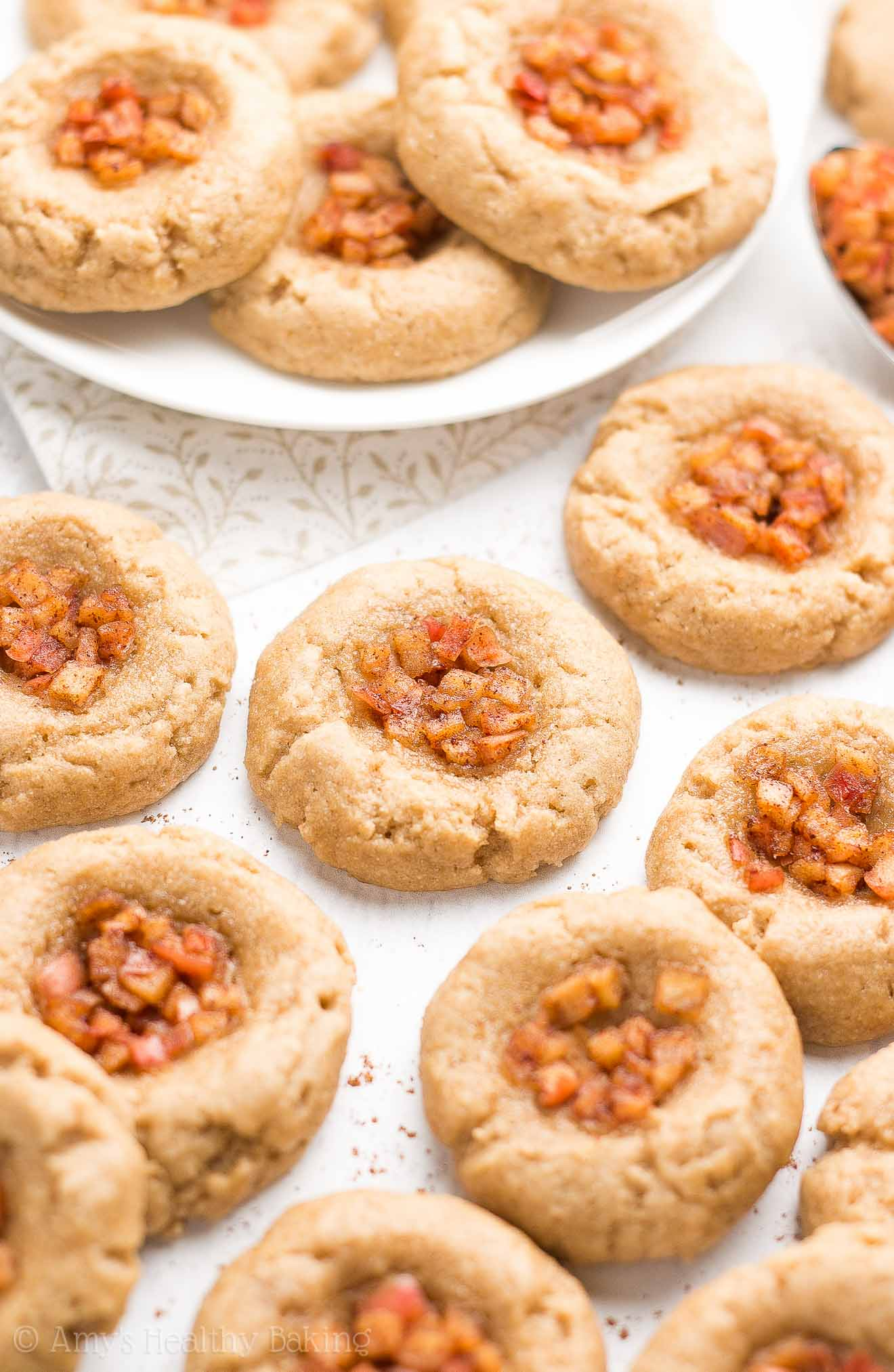 {HEALTHY!} Apple Pie Thumbprint Cookies -- only 42 calories! Sweet, buttery, chewy & SO much easier to make than pie! This recipe is the BEST! A total keeper!!