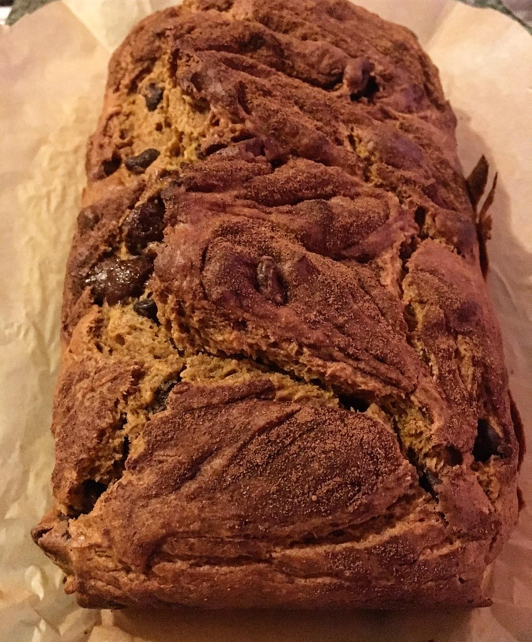 healthy chocolate chip pumpkin bread by @shesfoodobsessed