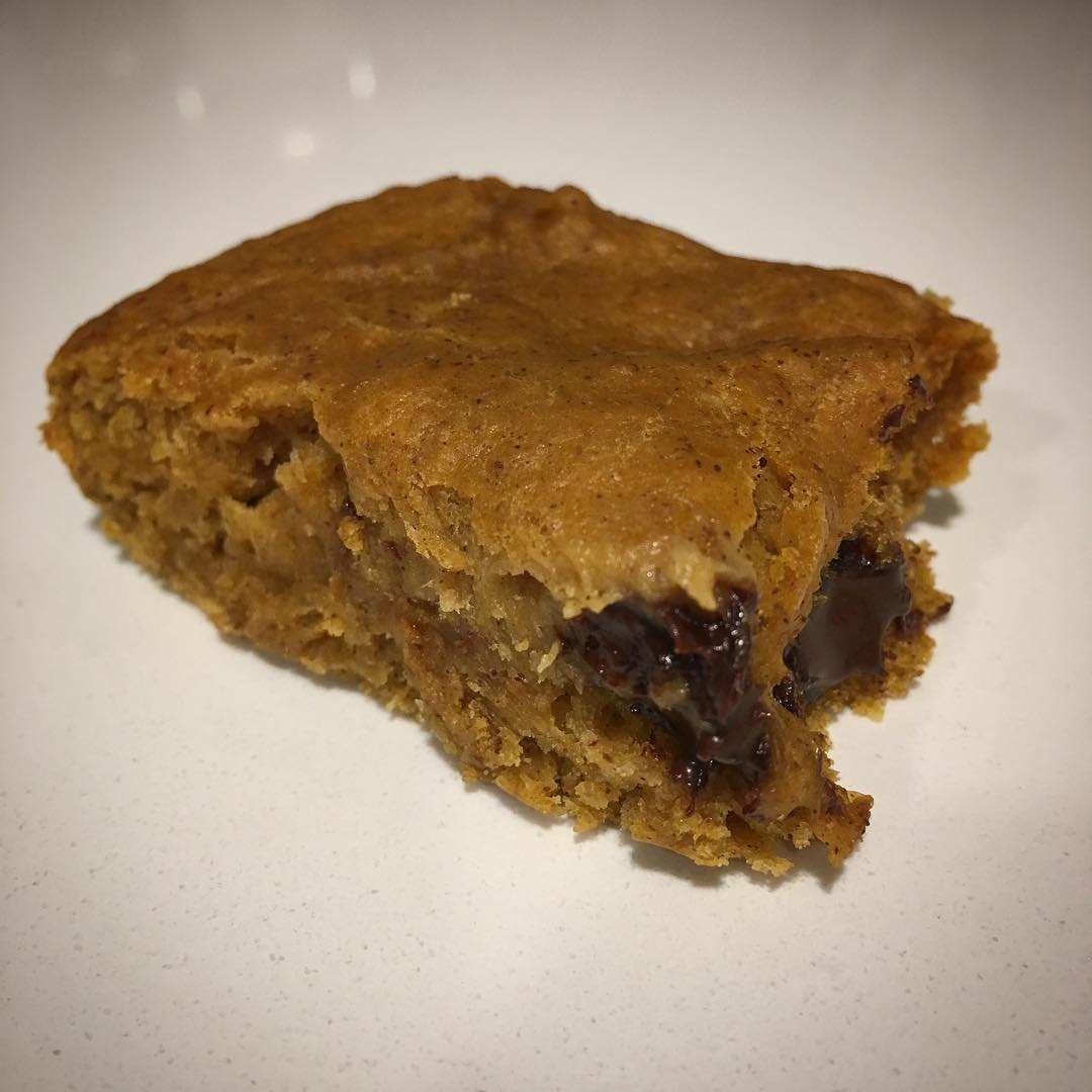 healthy chocolate chip pumpkin pie brownies by @abeebakes