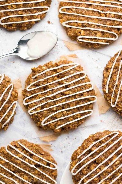 Healthy Iced Gingerbread Oatmeal Cookies