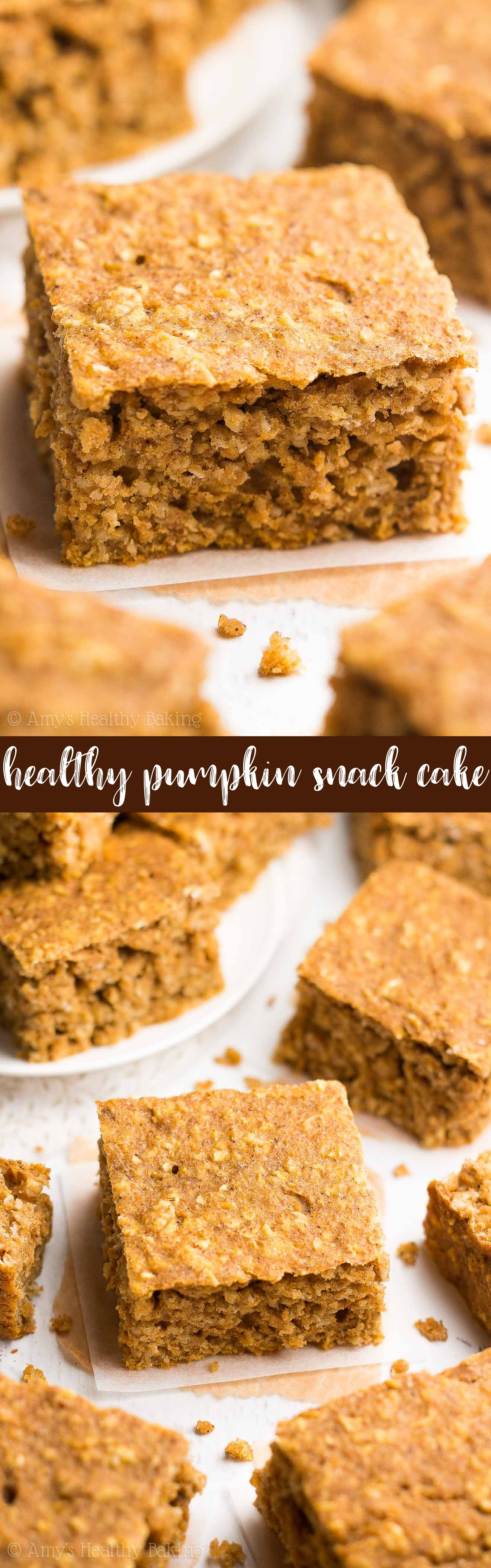 {HEALTHY!} Pumpkin Oatmeal Snack Cake -- only 99 calories! It tastes like pumpkin pie & is SO easy to make! (No mixer required!) Totally kid approved too! #recipe