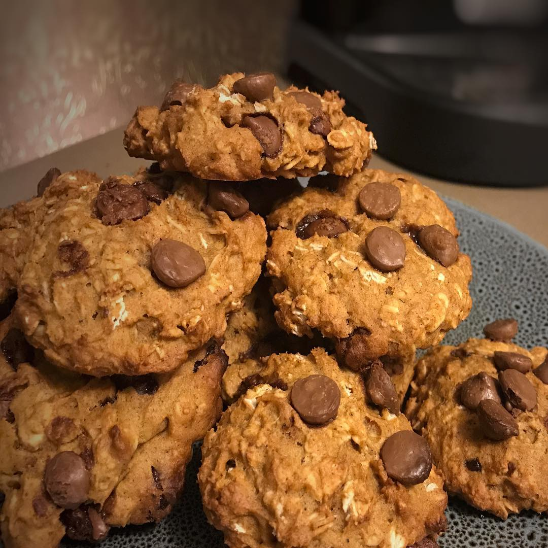 pumpkin pie chocolate chip oatmeal cookies by @12cdyns