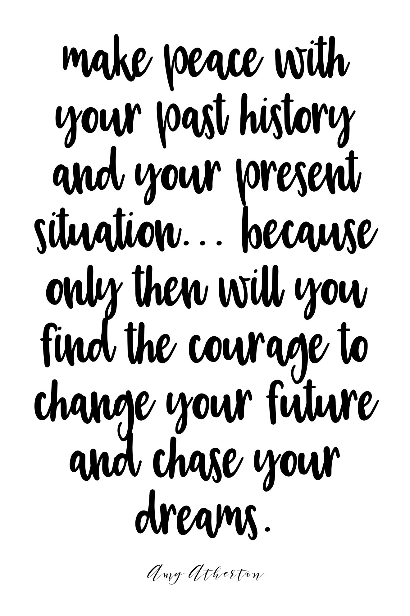 Make peace with your past history and your present situation... Because only then will you find the courage to change your future and chase your dreams. @amybakeshealthy