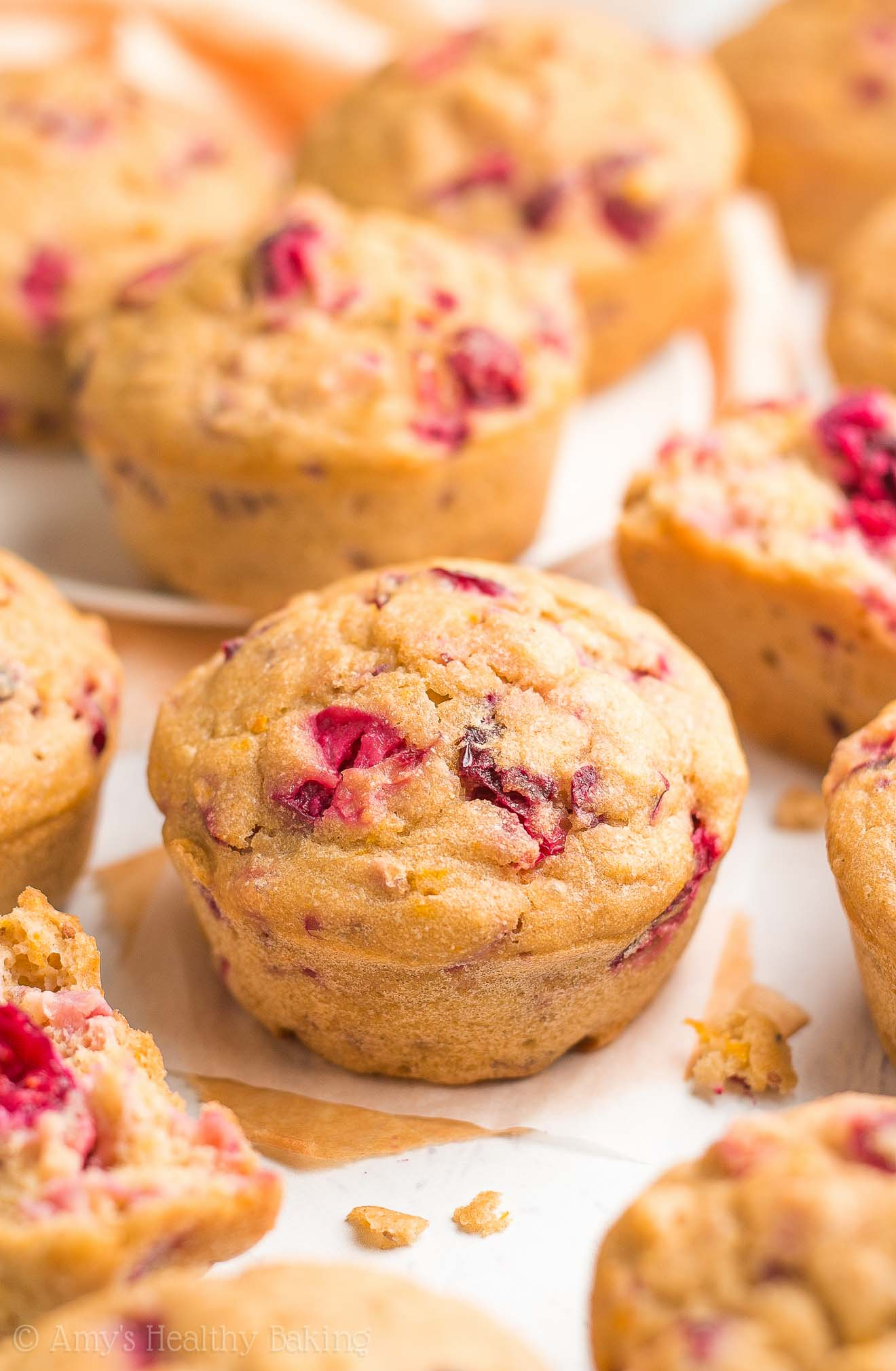 The ULTIMATE Healthy Cranberry Orange Muffins -- only 96 calories & as tender as cupcakes! I'm OBSESSED with the easy recipe! Sweet, flavorful & truly the BEST!
