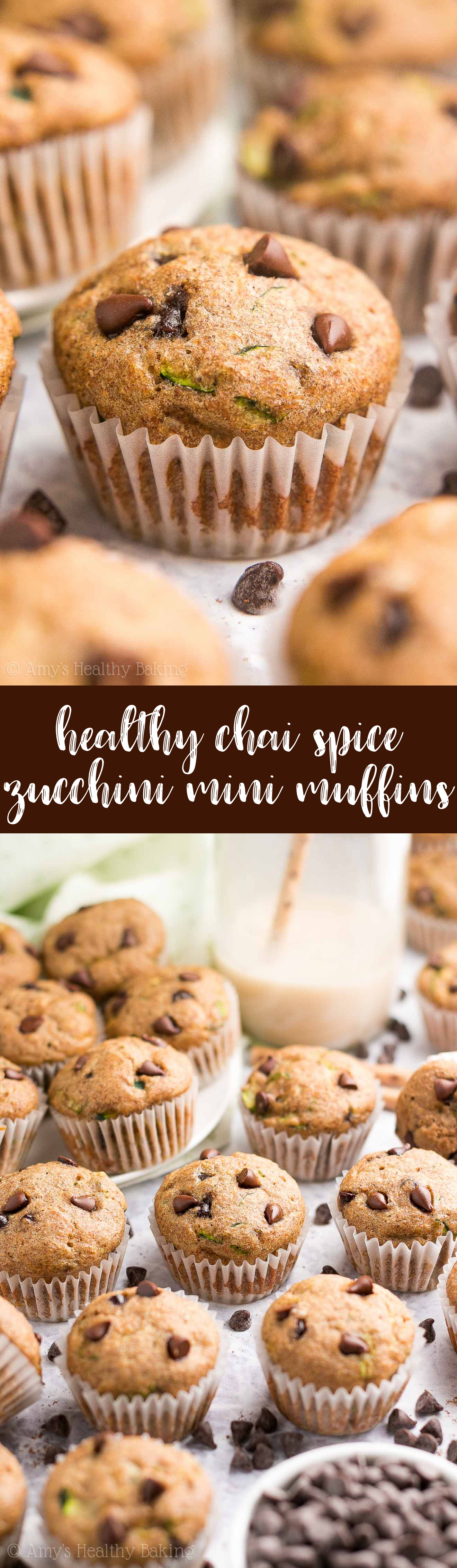 {HEALTHY!} Chai Spice Chocolate Chip Zucchini Mini Muffins -- only 38 calories & they taste like cupcakes! The spices make these the BEST zucchini muffins you'll EVER try! Trust me... I'm totally OBSESSED! #recipe #healthy #glutenfree #cleaneating
