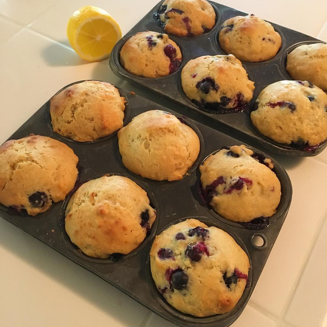 healthy small batch lemon blueberry muffins by @abeebakes
