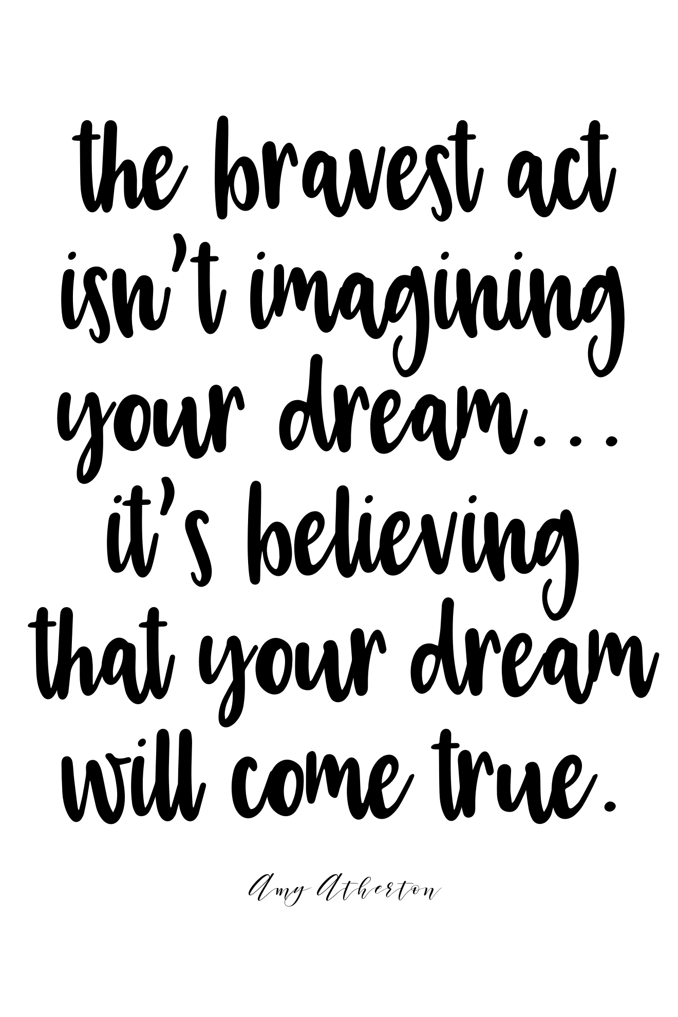 The bravest act isn't imagining your dream... It's believe your dream will come true. @amybakeshealthy