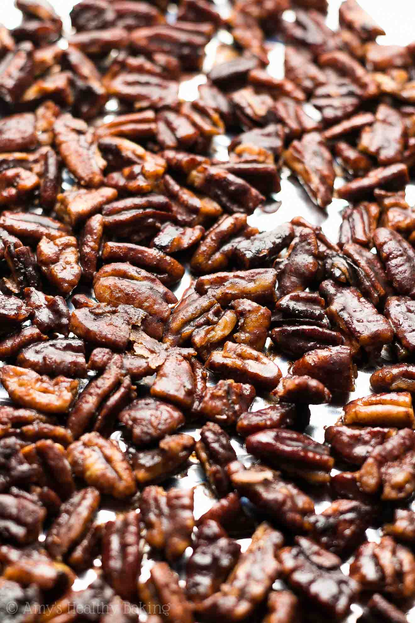 The ULTIMATE Healthy Candied Pecans -- sweet, crunchy bliss! Definitely the BEST recipe I've ever tried, by far! No butter or sugar & so easy to make! You just need 5 minutes! #recipe #healthy #lowcarb #glutenfree #vegan
