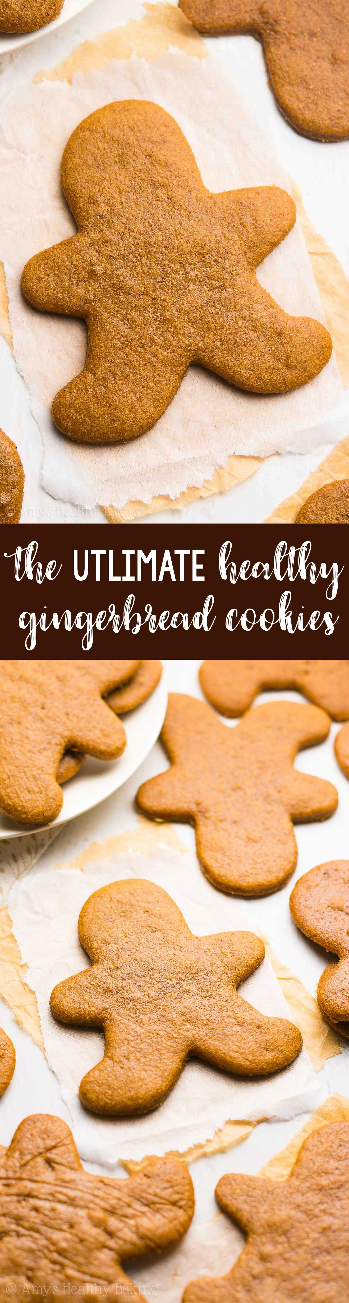 The Ultimate Healthy Gingerbread Cookies -- these skinny cookies don't taste healthy at all! Only 52 calories! You'll never need another gingerbread cookie recipe again!