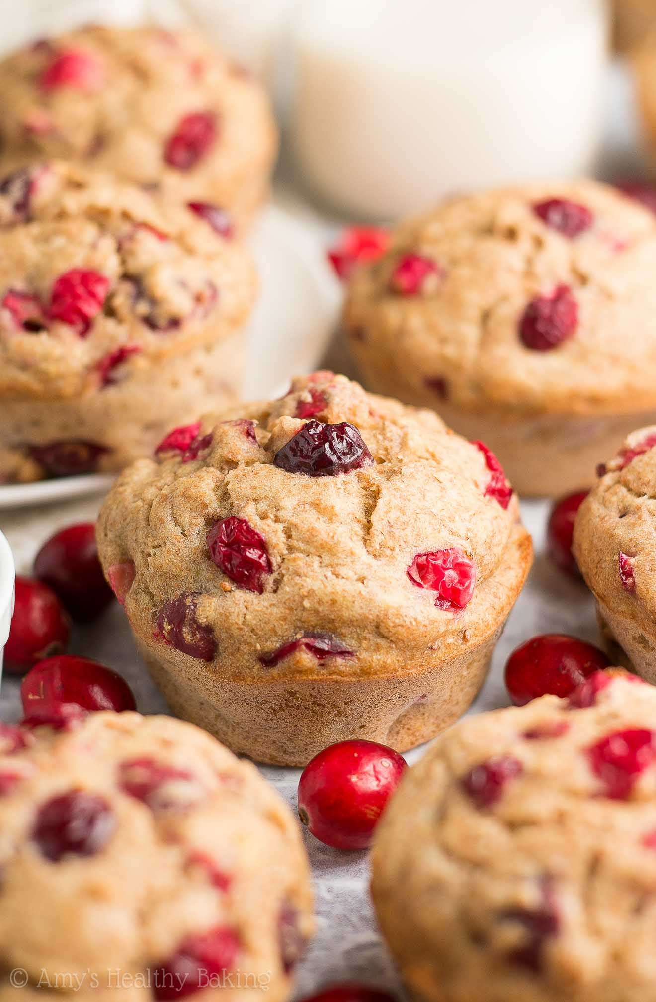 {HEALTHY} Cranberry Banana Muffins -- only 108 calories! They're supremely tender, thanks to a TOP SECRET TRICK! Picky eater approved & no mixer required! I love keeping these on hand for quick breakfasts & snacks! #healthy #recipe #muffins #weightwatchers #easyrecipe #cleaneating #bananamuffins
