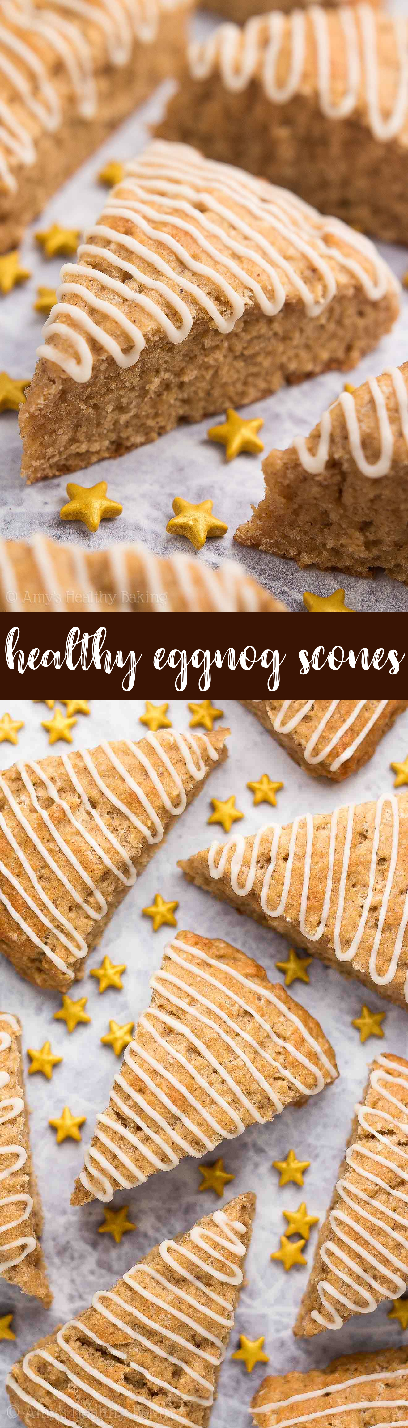 {HEALTHY!} Eggnog Scones -- only 126 calories! You just need 1 bowl & 30 minutes to make them! Perfectly tender & full of sweet, cozy eggnog flavor! I make this easy recipe ALL the time during the holidays -- it's AMAZING! #recipe #healthy #holidays #christmas #eggnog #scones #breakfast