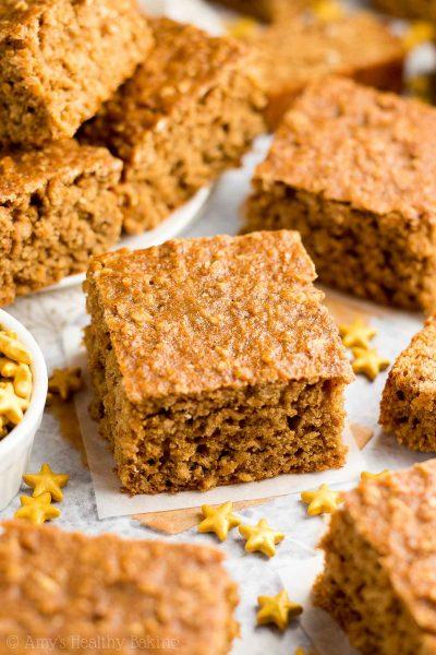 Healthy Gingerbread Oatmeal Snack Cake