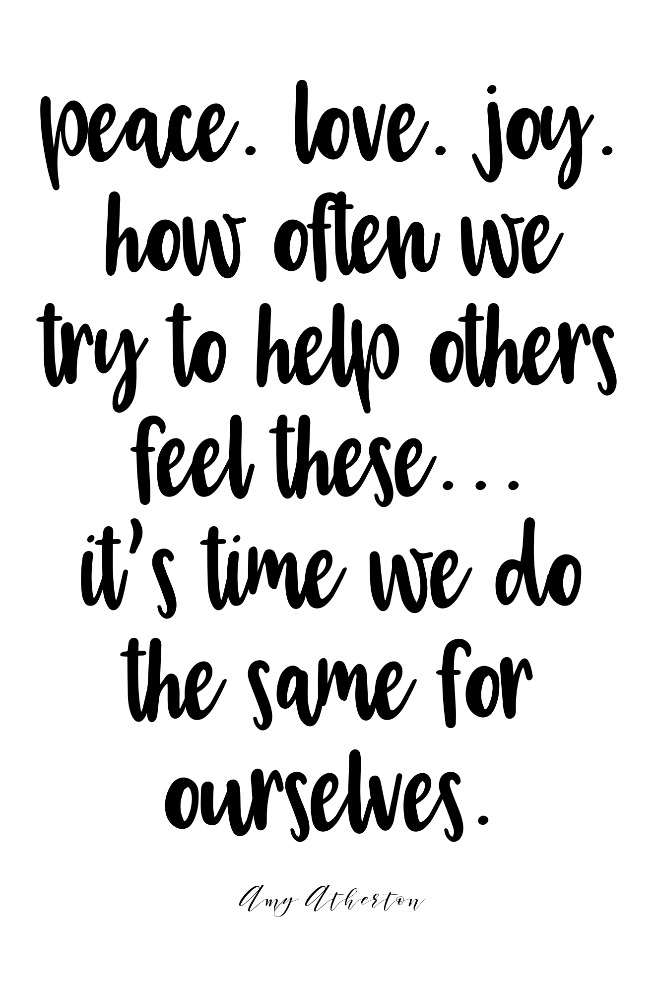 Peace. Love. Joy. How often we try to help others feel these... It's time we do the same for ourselves. @amybakeshealthy