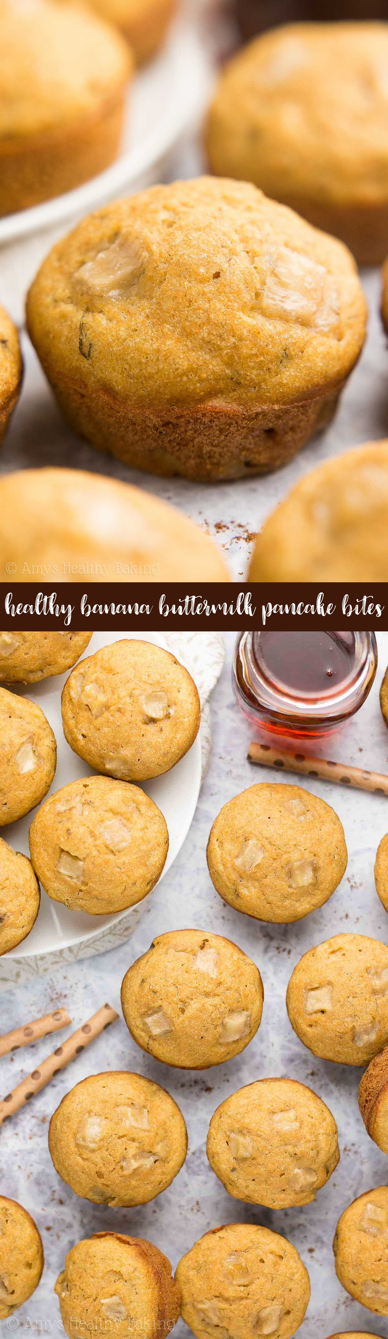 {HEALTHY!} Banana Buttermilk Pancake Bites Recipe! These taste AMAZING & are only 31 calories! SO easy to make, totally kid-friendly & perfect for grab-and-go breakfasts!