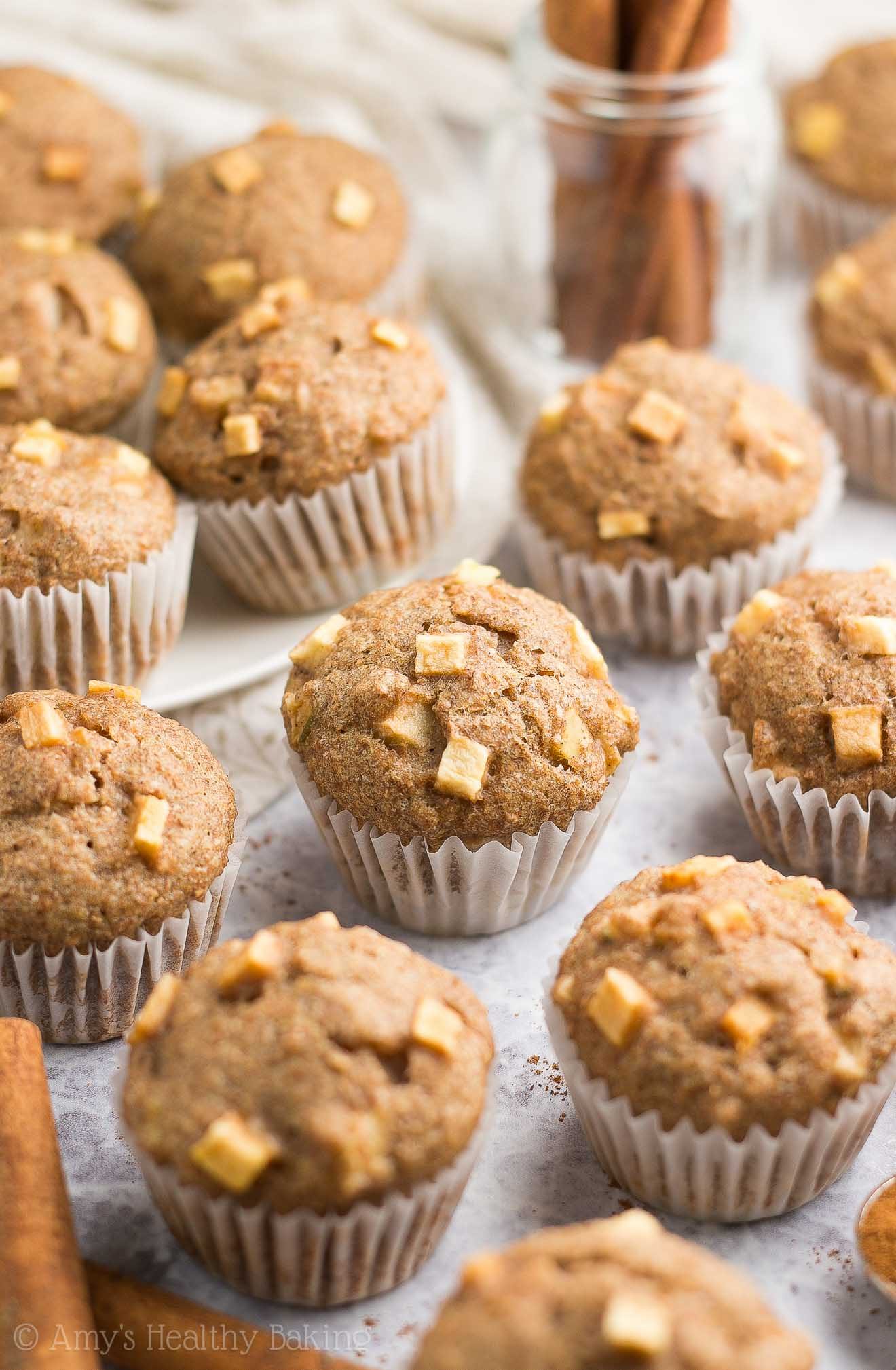 {HEALTHY!} Cinnamon Apple Mini Muffins -- only 32 calories! They taste like apple pie for breakfast! This easy recipe was an instant favorite in our family! (Totally kid-approved too!) #healthy #recipes #breakfast #muffins #cleaneating