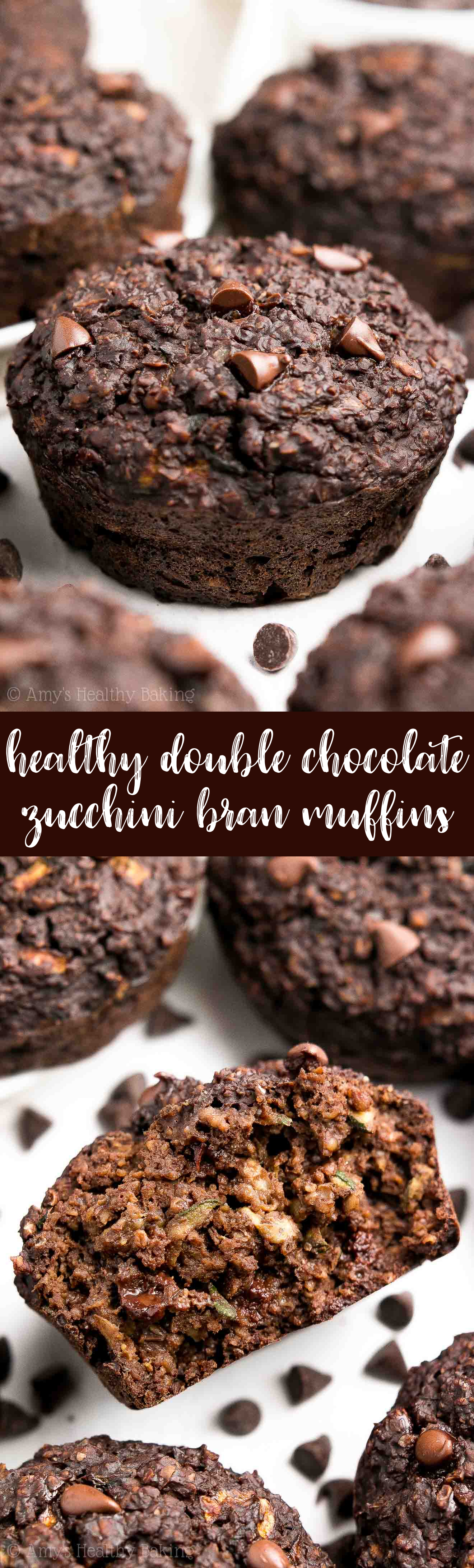 {HEALTHY!} Double Chocolate Bran Muffins -- they practically taste like brownies, for just 105 calories! SO rich & chocolaty, and they're so easy to make! (No mixer needed!) Totally kid-approved and freezer-friendly! #healthy #breakfast #recipe #muffins #cleaneating