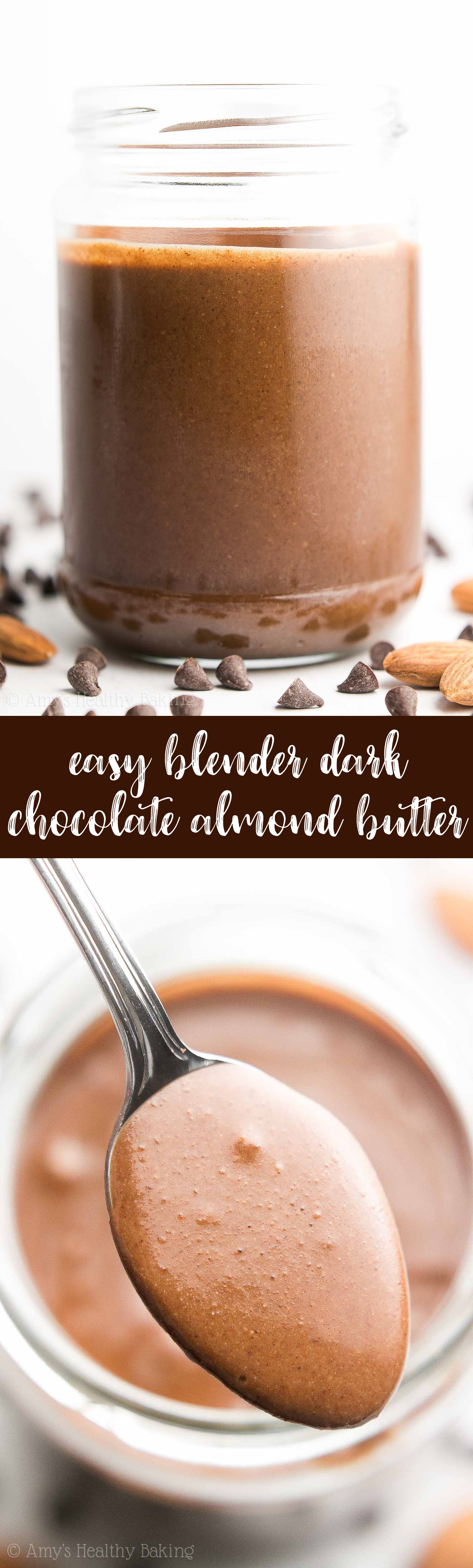 homemade dark chocolate almond butter made in a blender