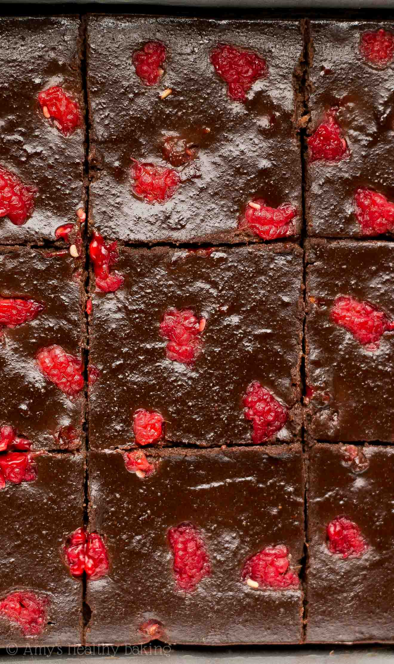 a small pan of 9 really fudgy raspberry dark chocolate brownies