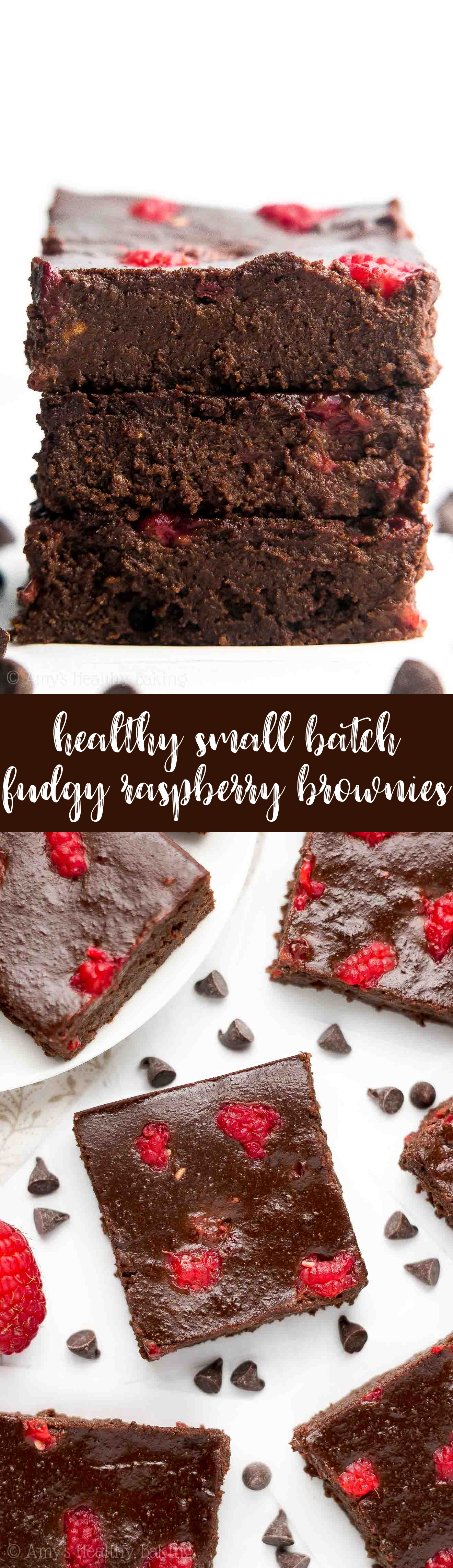 an easy small batch recipe for fudgy raspberry dark chocolate brownies