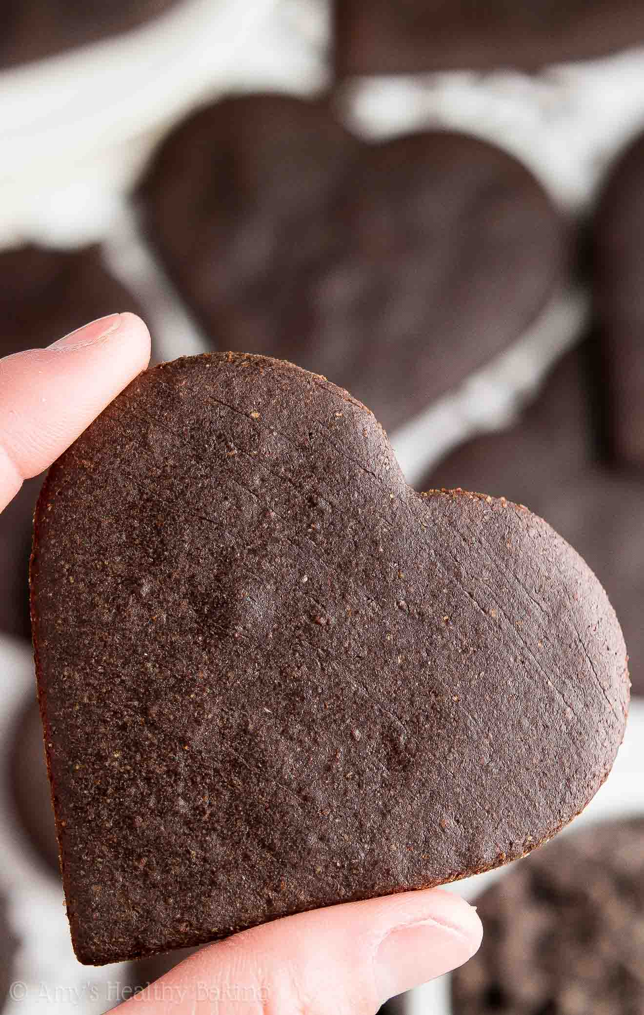 Thumb + index finger holding a heart-shaped dark chocolate sugar cookie