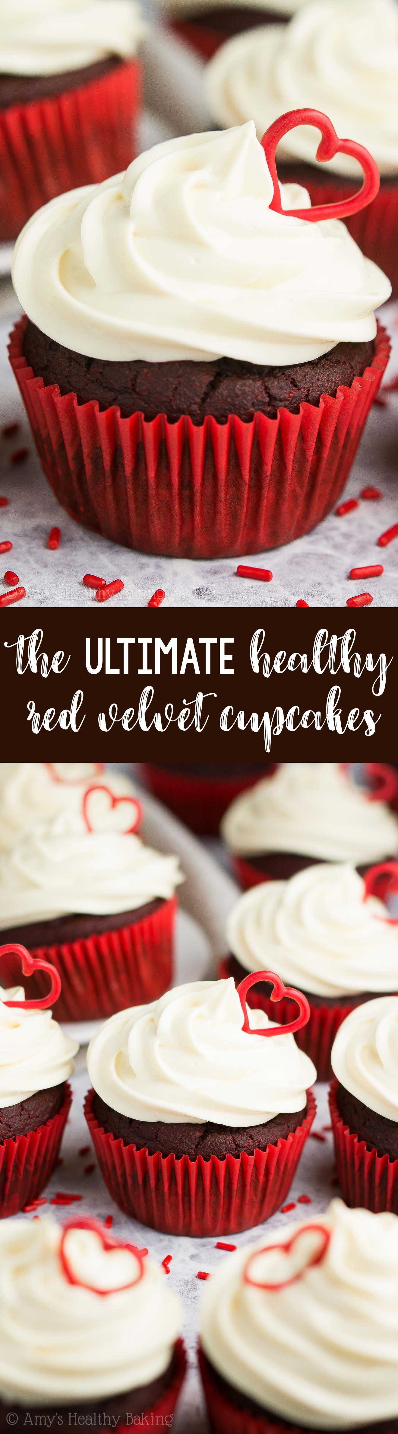 The ULTIMATE Healthy Red Velvet Cupcakes! Topped with heart-shaped decorations + cream cheese frosting!