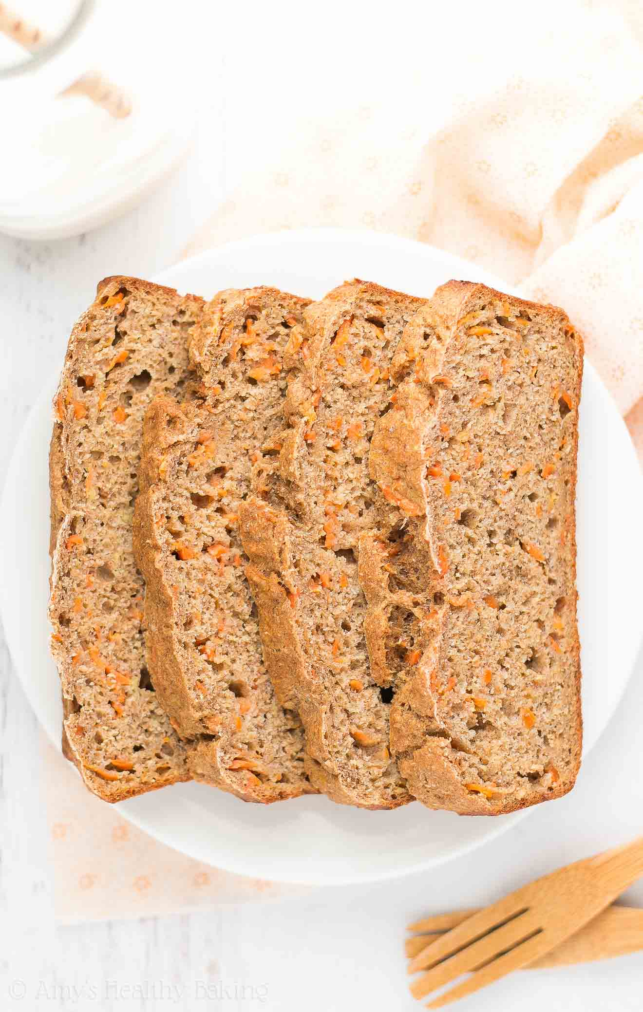 Slices of Healthy Carrot Cake Banana Bread