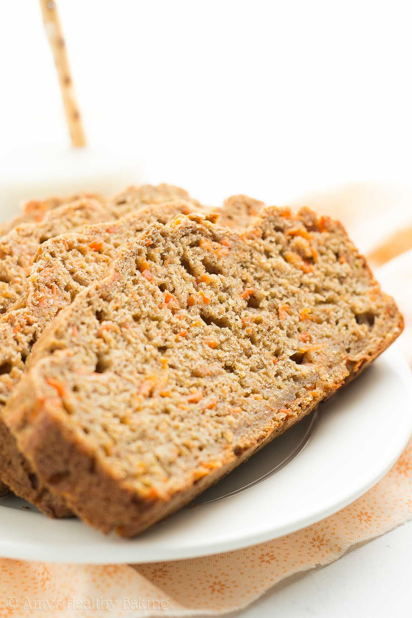 A plate of Healthy Carrot Cake Banana Bread slices