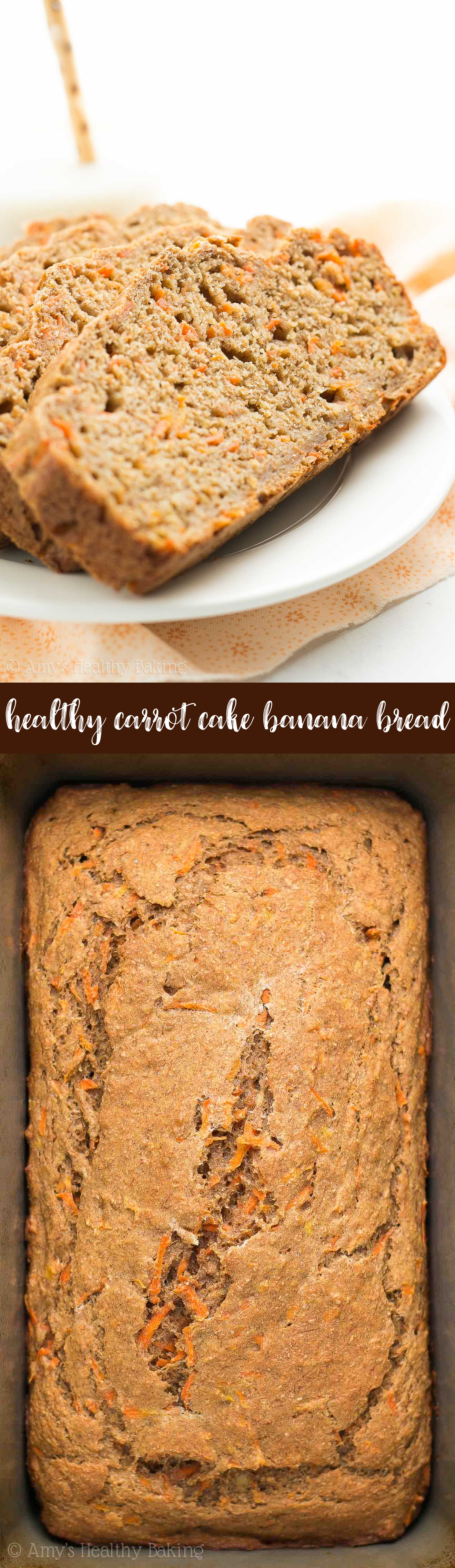 Healthy Carrot Cake Banana Bread Loaf + Slices