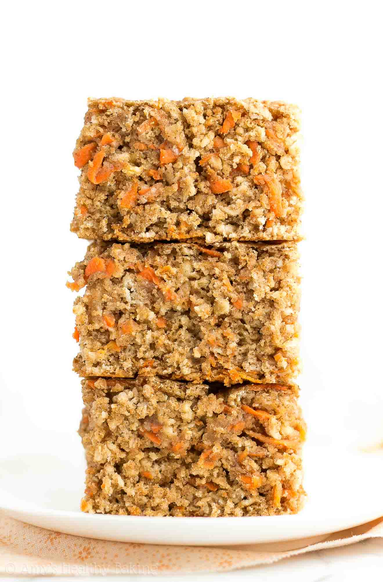 Stacked slices of Healthy Carrot Cake Oatmeal Snack Cake