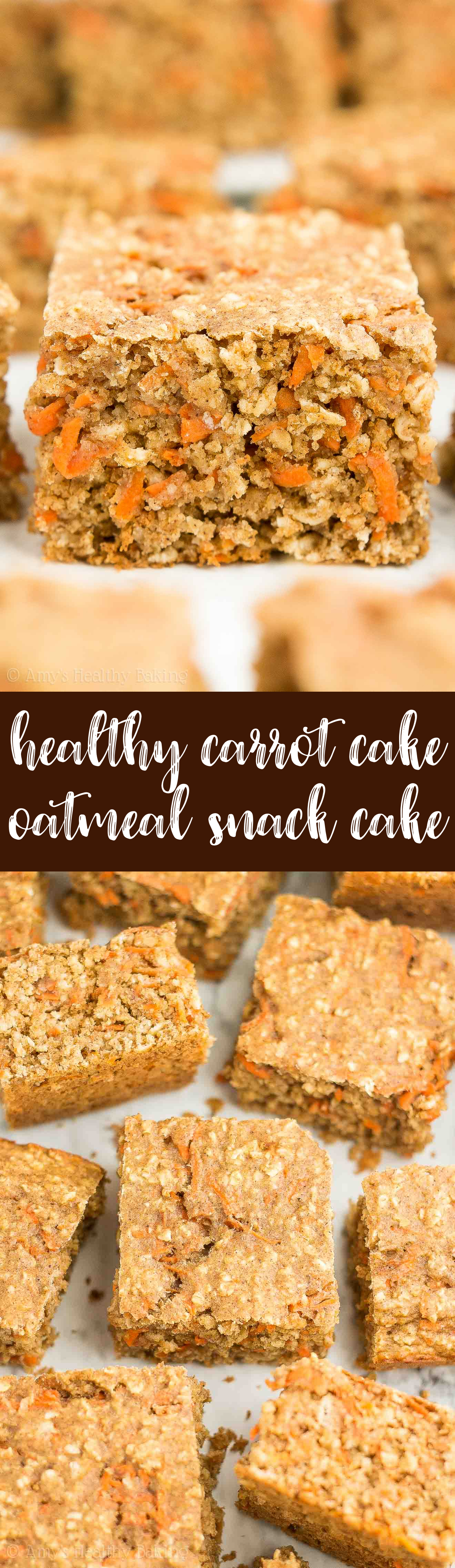 Low-Calorie Healthy Carrot Cake Oatmeal Snack Cake